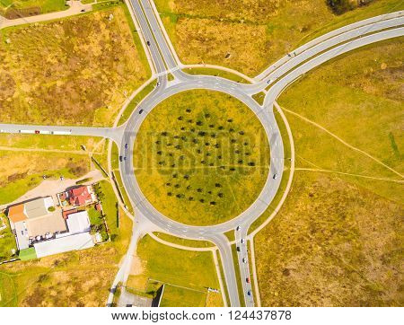 Aerial view of roundabout in Pilsen, Czech republic, Central Europe. Environmental concept.