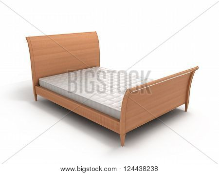 3D Ilustration Of Wooden Bed With A Mattress Isolated On White
