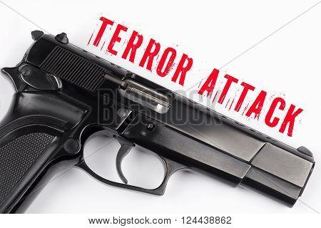Close up gun and Terror Attack inscription