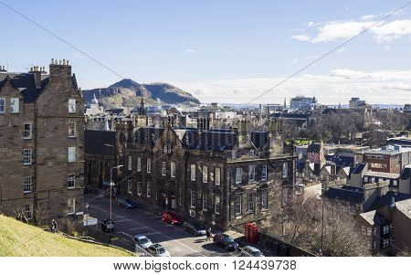 EDINBURGH, SCOTLAND - MARCH 6: Old Town of Edinburgh and Arthur's Seat on the background at March 6, 2016