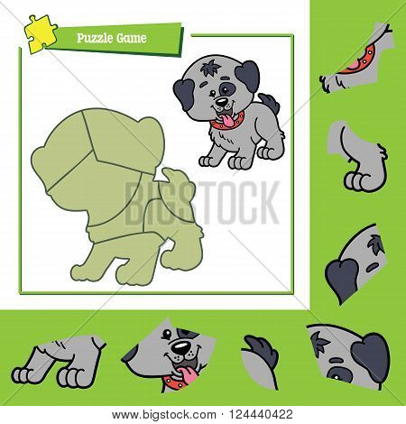 cute puzzle game. Vector illustration of puzzle game with happy cartoon dog for children