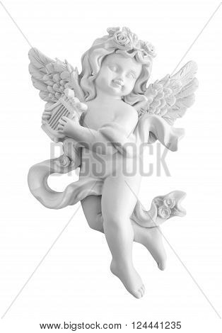 Angel playing the harp on white background