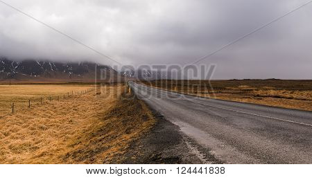 Rural Ring road one empty highway in Iceland with mountains covered with mist and fields in yellow color