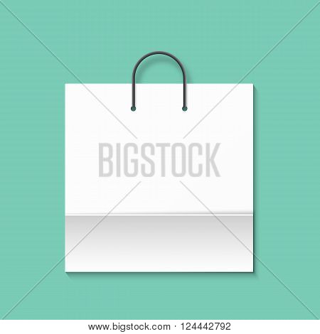 Bag isolated on a green background. Green paper bag. Shopping bag. Bags for boutiques.