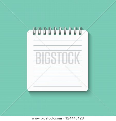 Template with spiral notebook isolated on a green background. School notebook. Diary for business. Notebook cover design. Realistic Notepad. Office stationery items.