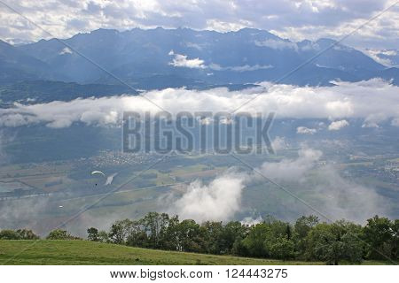 Low cloud in the French Alps at Saint Hilaire