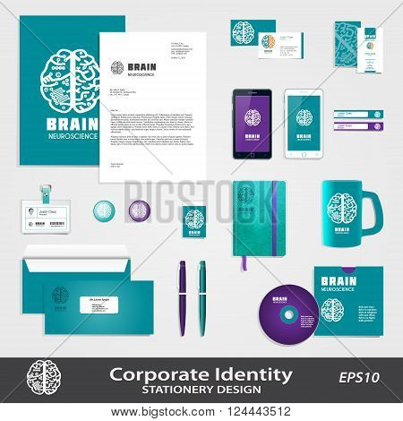 Medical Science business identity set template with Human Brain hemispheres vector icon. Brain sign design for Neuroscience & Medicine. Creative & analytical brain division scheme. Layered, editable