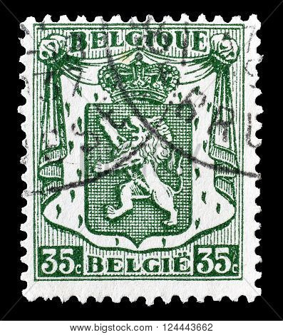 BELGIUM - CIRCA 1935 : Cancelled postage stamp printed by Belgium, that shows coat of arms.