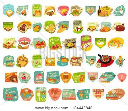 Food Stickers Big Set on White Background. Meal Labels Collections. European Cuisine. Mexican Food. Dessert Collections. Vector Illustrations.
