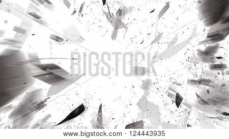Destructed Or Shattered Glass On Black With Motion Blur