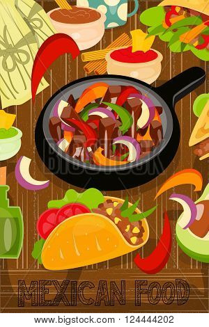 Mexican Food Menu Card with Traditional Spicy Meal on Wooden Background. Fajitas. Vector Illustration.