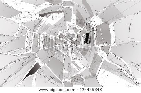 Shattered Or Damaged Glass Pieces On White