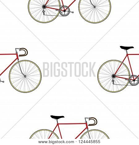 Vintage Bicycle color Seamless Pattern on white