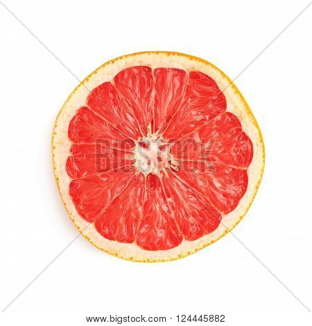 Dried old grapefruit cut in half isolated over the white background, top view