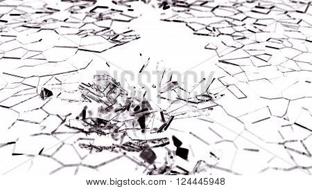 Broken And Splitted Glass Pieces On White