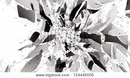 Broken Pieces Of Glass On White With Motion Blur
