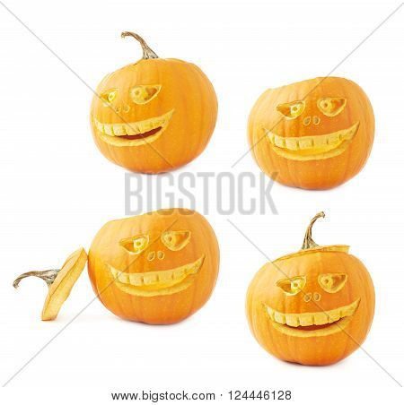 Jack-o'-lanterns orange halloween pumpkin head with the scary facial expression carved on it, isolated over the white background, set of four foreshortenings
