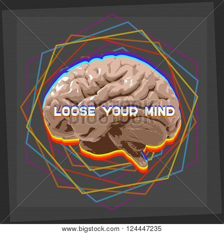 loose your mind abstract concept illustration brain with geometric shapes