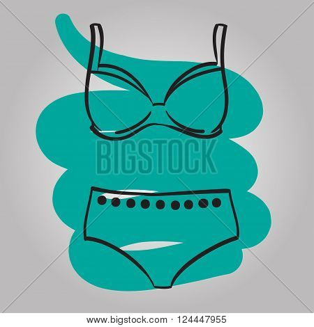 Woman swimming suit female swimsuit hand drawn vector fashion illustration
