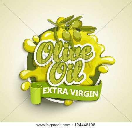 Olive oil extra virgin label, badge or seal on the white background, vector illustration.