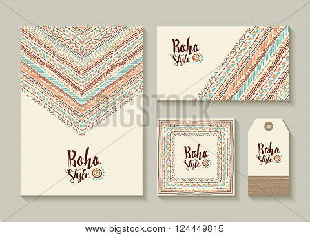 Boho Style Card And Tag Designs With Colorful Art