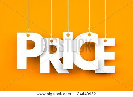 Word PRICE hanging on the ropes. 3d illustration