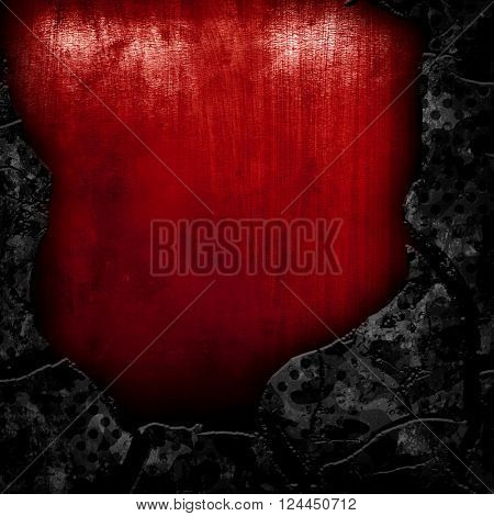 cracked metal with red paint background