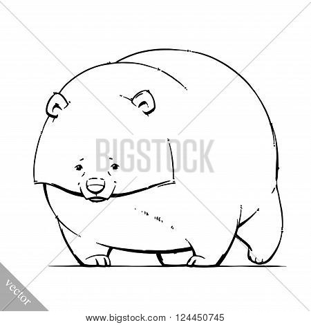 funny cartoon cute vector brown grizzly bear illustration
