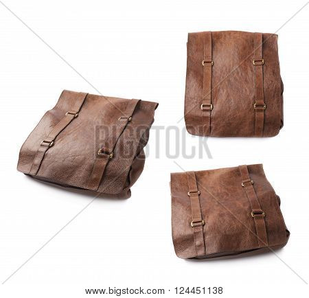 Brown leather shoulder bag isolated over the white background