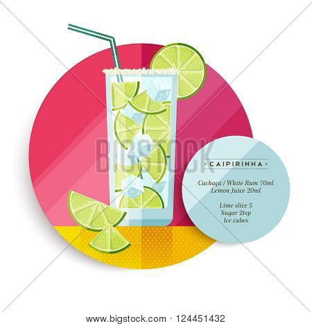 Caipirinha cocktail drink recipe illustration in colorful flat art design style with summer fruit decoration and ingredients text. EPS10 vector.