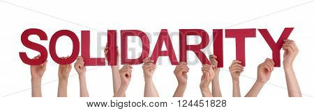 Many Caucasian People And Hands Holding Red Straight Letters Or Characters Building The Isolated English Word Solidarity On White Background