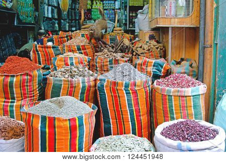 CAIRO EGYPT - FEBRUARY 24: Market Stall at Khan el Khalili Souk in Cairo on FEBRUARY 24 2010. Traditional Shop at Medieval Bazaar in Islamic District in Cairo Egypt.