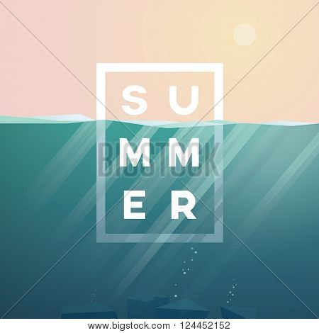 Summer background with underwater seascape scene and sunbeams in the ocean. Summer text in the centre. Eps10 vector illustration.