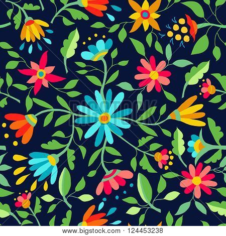 Flower Seamless Pattern Spring Color Background