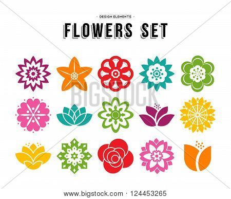 Colorful set of different flowers in modern flat art illustration style floral nature icons lotus lily rose and more. EPS10 vector.