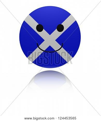 Scotland happy icon with reflection 3D illustration