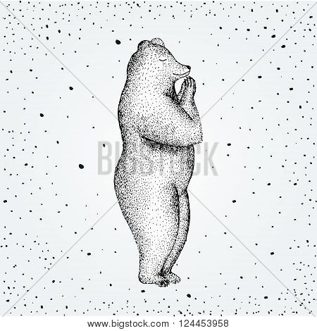 Vector illustration of fun a bear isolated on vintage background. Print posture morning practice pranayama asana pose yoga Eps 10. spirit graphic character. Pranamasana