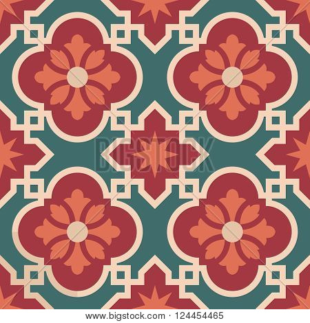 Ceramic Moroccan Mosaic Tile Pattern With Flower
