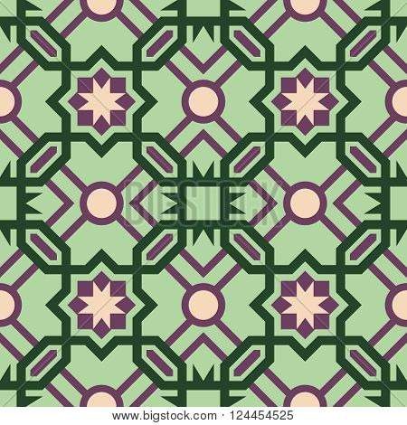 Mosaic Tile Pattern With Abstract Green Design