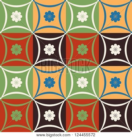 Mosaic Tile Flower Pattern With Geometric Shapes
