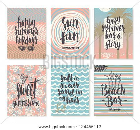 Vector illustration. Set of summer holidays and tropical vacation hand drawn posters or greeting card with handwritten calligraphy quotes, phrase and words.