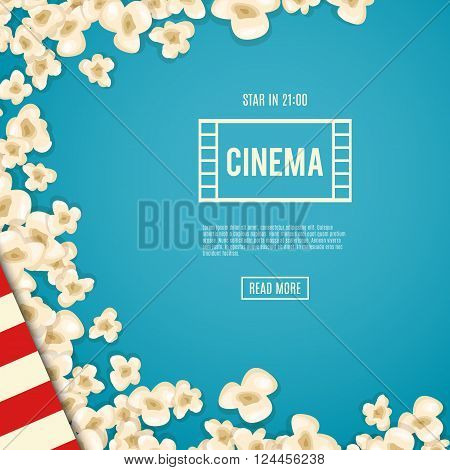 Heap popcorn for movie lies on blue background. Vector illustration for cinema design. Pop corn food pile isolated. Border and frame for film poster flyer. Delicious theater sweet or salted snack.