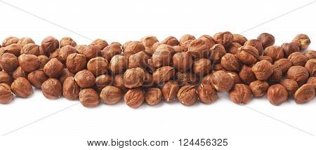 Multiple hazelnuts aligned in a line as copyspace background composition isolated over the white background