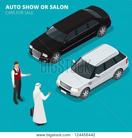 Arab businessman chooses Luxury car. Flat 3d vector isometric illustration. Cars for sale. Auto business, car sale and people concept. Auto show or salon