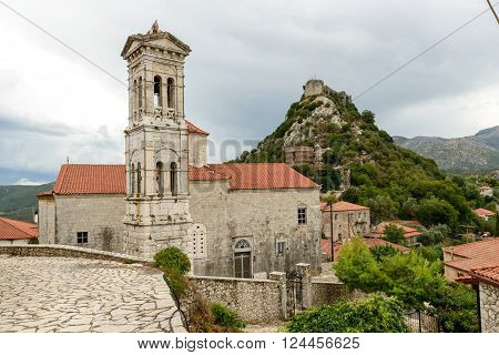 Church of Evaggelistria (Annunciation) with stone belfry at Karytena, Greece