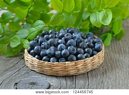 Fresh bilberry on wooden table, close up