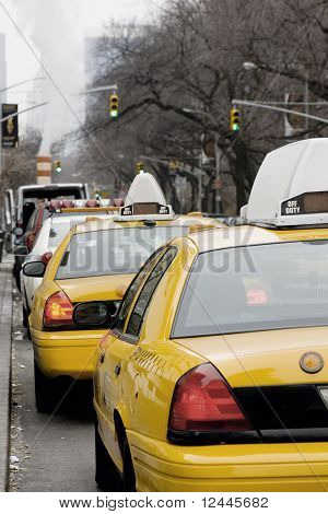 New York Taxi lined on Fifth Avenue