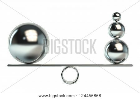 Balance concept with balls 3D rendering isolated on white background
