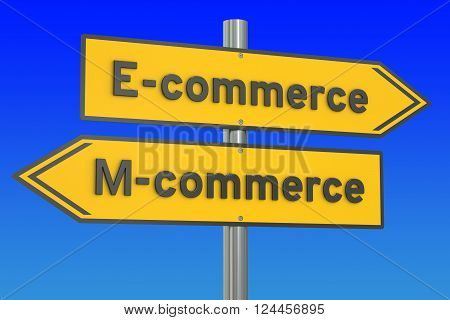 e-commerce or m-commerce concept 3D rendering on the signpost