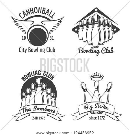 Bowling club emblem set. Vintage bowling tournament logo set. Vector illustration
